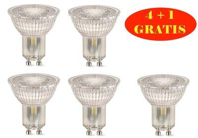LED SPOT 4+1 GRATIS GU10 120° 3,3W=27W 275LM 2700K