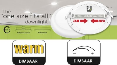 LED DOWNLIGHT MULTI-FIT INBOUW 65-205MM DIM 18W 1440LM 3000K