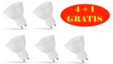 LED SPOT 4+1 GRATIS GU10 120° 4W=35W 300LM 3000K _