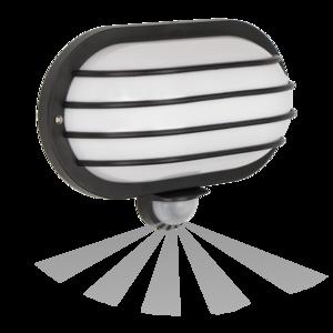 WANDLAMP MET SENSOR SOLAN ZWART IP44 230V E27 FITTING