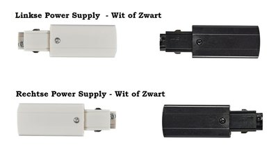 POWER SUPPLY CONNECTOR LINKS OF RECHTS VOOR 3-FASE RAILS WIT OF ZWART
