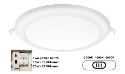 LED DOWNLIGHT TRI-COLOR - TWO POWER 18W/25W 1850/2300LM