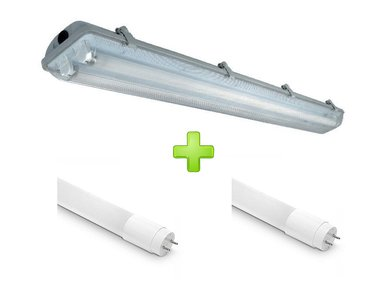 LED TL ARMATUUR IP65 2 X 120-CM + LED TL LAMPEN 4000K